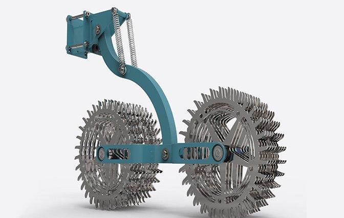 Agrartechnologie mit Werkzeugscheiben aus Metall und blauem Gestell