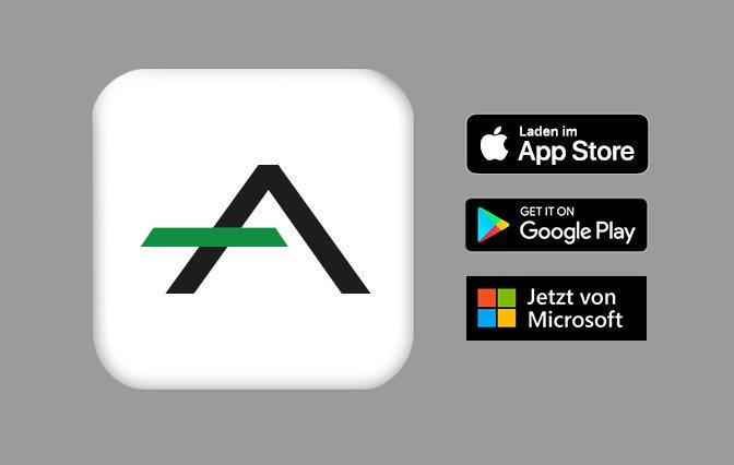 norelem ACADEMY Logo schwarz grün in weißem Quatrad mit Download Icons von App Store, Google Play und Microsoft rechts auf grauem Hintergrund