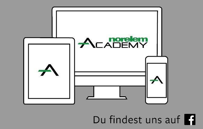 Grafische schwarz weiß Zeichnung von einem PC Bildschirm. Tablet und Smartphone mit norelem ACADEMY Logo auf grauem Hintergrund