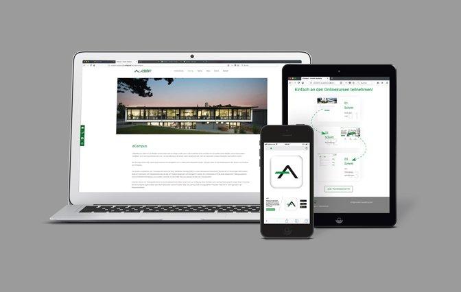 Bilder von einem Laptop. Tablet und Smartphone mit norelem ACADEMY Logo auf grauem Hintergrund