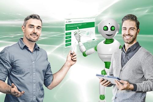 norelem ACADEMY Training Kachelbild mit Nori dem Roboter und zwei Männern